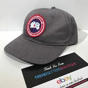 CANADA GOOSE PATCH LOGO BASEBALL CAP HAT SNAPBACK GREY BLACK S M ... 5c40bb571ca