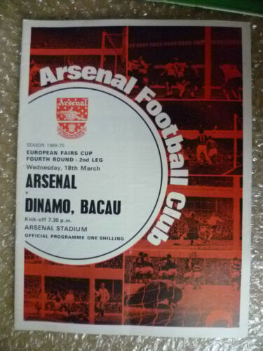 196970 ARSENAL v DINAMO, BACAU, 18th March European Fairs Cup,4th RD 2nd Leg