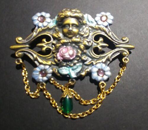 "/""JJ/"" Jonette Jewelry Pewter Color /'Fairy Flowers Jewels/' Pin Brooch USA"