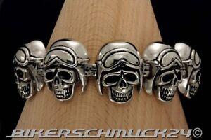 Totenkopf-Armband-8-Helmed-Skulls-mit-Motorradbrille-Edelstahl-Biker-Geschenk