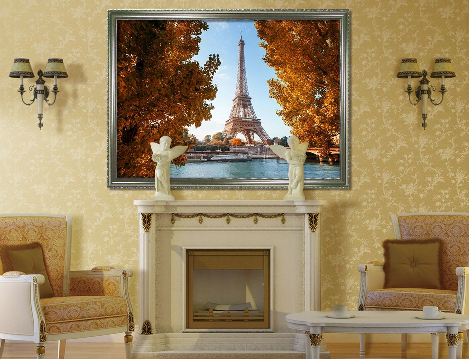 3D Eiffel Tower Autumn 2 Framed Poster Home Decor Print Painting Art WALLPAPER