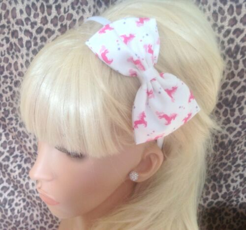 "NEW WHITE PINK UNICORN PRINT COTTON FABRIC 5/"" SIDE BOW ALICE HAIR HEAD BAND GIRL"