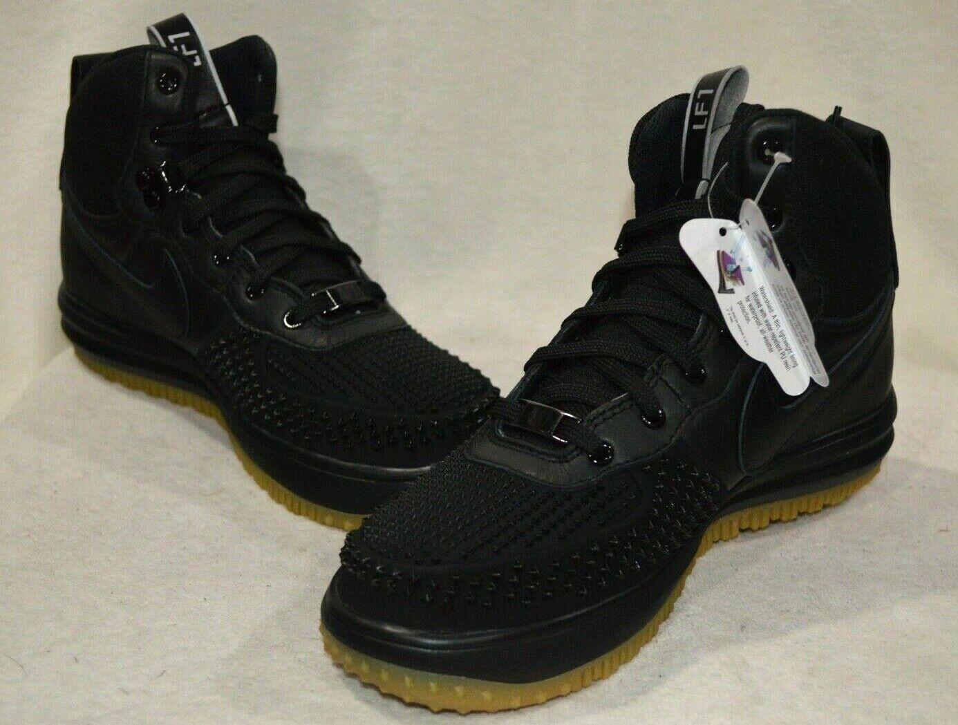 Nike Lunar Force 1 Duckboot (GS) BlackSilver Leather Boy's Boots Sz 4.55.5 NWB