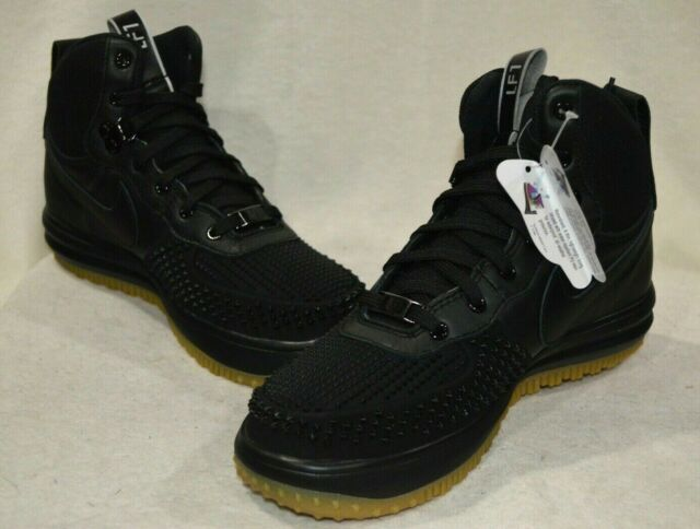 Nike Lunar Force 1 Duckboot (GS) BlackSilver Leather Boy's Boots Sz 4.55.5 NWB