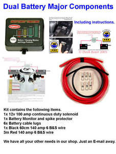 DUAL-BATTERY-SYSTEM-4X4-QUALITY-KITS-NEW-WITH-MONITOR-AND-SPIKE-PROTECTION