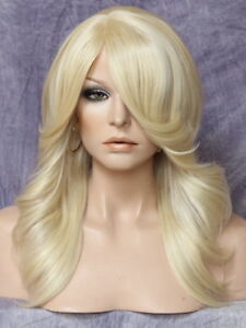 Human-Hair-Blend-Pale-Blonde-feathered-curls-Heat-safe-Full-Wig-613-PHM