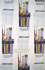 School Fabric - Art Supply Paint Brush on Beige - Riverwoods Cotton YARD