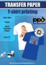 Ppd Inkjet Iron On Dark T Shirt Transfers Paper Ltr 85x11 Pack Of 20 Sheets