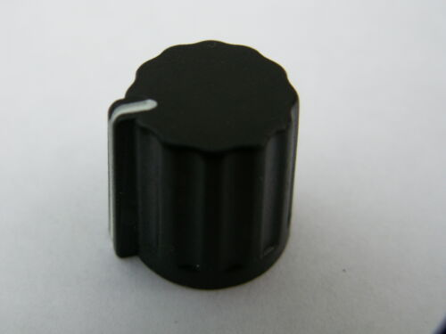 Small black ABS control pot knob 14mm dia 15mm high brass insert and screw