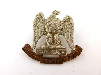 RARE ROYAL SCOTS GREYS BI-METAL CAP BADGE.