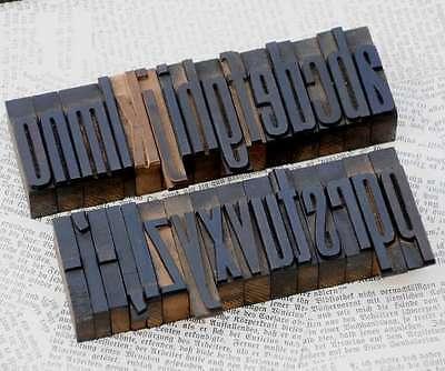 "a-z letterpress wooden printing blocks 1.77"" wood type Vintage alphabet letters"