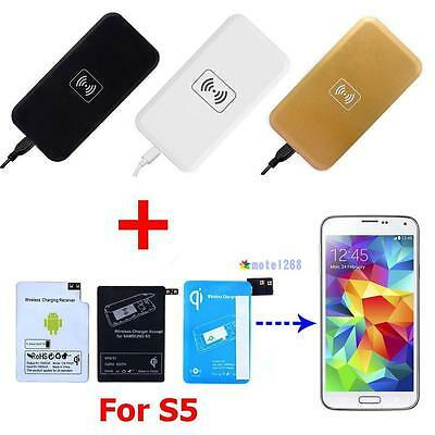 Qi Wireless Power Charger Charging Pad +Receiver Lot for Samsung Galaxy S5 i9600