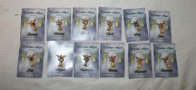 10 Each of All 12 Month Birthstone Guardian Angel Pins Miracles Gold Silver 240