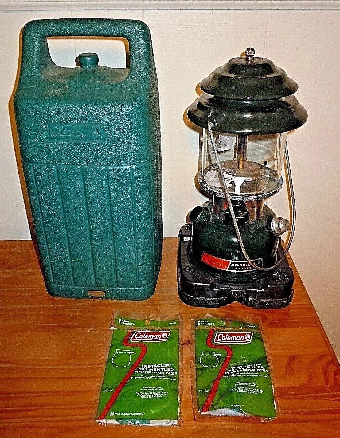 Coleman Lantern & 2 Extra  21 Mantles & Plastic Cover Base Camping Equipment EUC