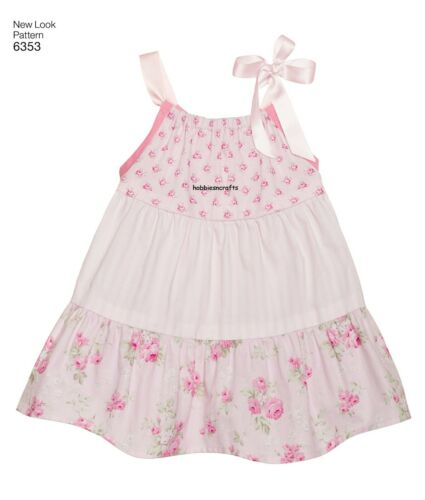 Large 6353 BABIES/' DRESSES /& PANTIES Sewing pattern NEW LOOK  Ages New born