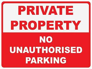 Details about (3 X SIGNS) PRIVATE PROPERTY NO UNAUTHORISED PARKING - 300 X  200MM - CORFLUTE