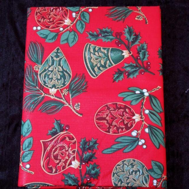 Christmas Santa Claus Holly Tablecloth Vinyl Flannel Back All
