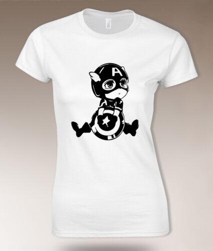 Cute Captain America T shirt Chibi Anime style Women kawaii marvel super hero T