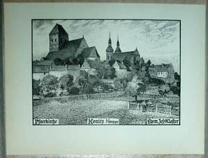 Konitz-Chojnice-Pfarrkirche-Jesuiten-Kloster-alte-Ansicht-Druck-ca-1920-Pommern
