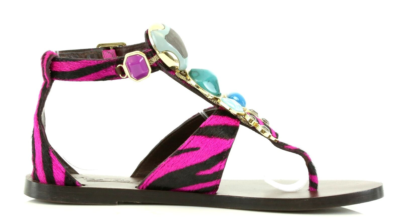 Miss.Trish STONED Pink Zebra Print Ankle Ankle Ankle Strap Sandals 7072 Size 10 M NEW f53449