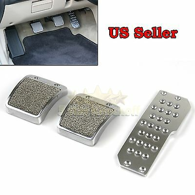 FITS ACURA/HONDA! RACING JDM STYLE! SILVER GREY GAS BRAKE CLUTCH PADDED PEDALS