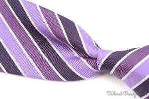 "ISAIA Purple Multi Striped Twill Repp 100% Silk Mens Luxury Tie - 3.375"""