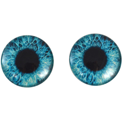 Taxidermy Art Doll Making Pair of 40mm Bright Blue Glass Eyes Cabochons Set