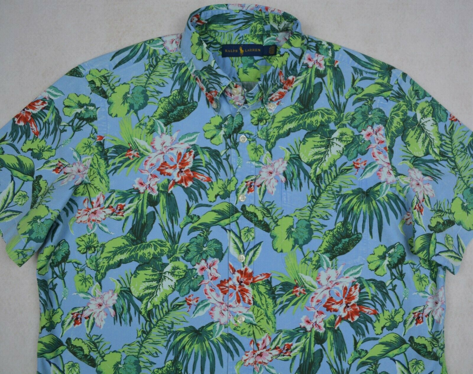 e2c84166 Polo Ralph Lauren Hawaiian Floral Print Oxford Camp Shirt 2XB 2XLT NWT