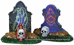 Lemax 24467 BACKLIT TOMBSTONES Set of 2 Spooky Town Lighted Halloween Decor I