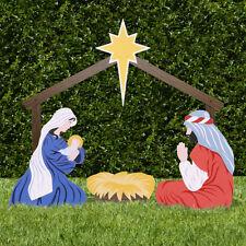 Classic Outdoor Nativity Set Holy Family Yard Scene Mary Joseph Cradle Christmas