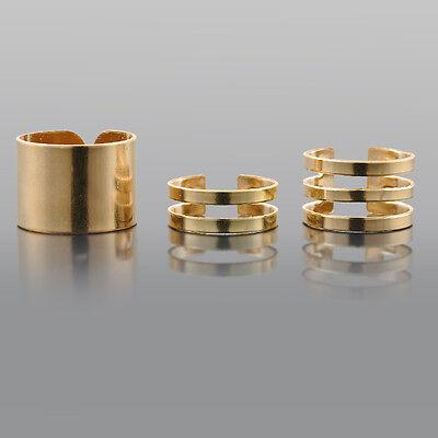 Fashion Punk 3Pcs Set Gold/Silver Plain Band Midi Finger Knuckle Stack Rings FS9