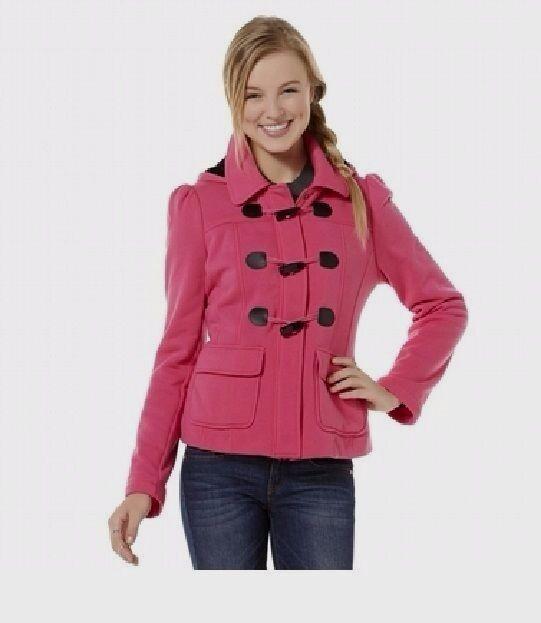 NEW Juniors Jacket Bongo Fleece Toggle Coat Hooded Polyester size L