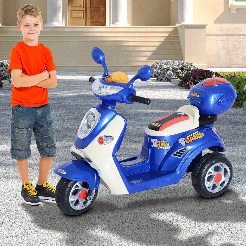 Coche Triciclo Moto Eléctrica Infantil Correpasillos a Batería Niños 3-8 años