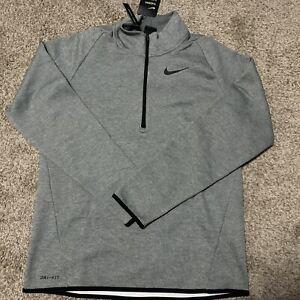 Nike-Quarter-Zip-Therma-Top-Jacket-Dark-Grey-Heather-Mens-Size-Small-932041-063