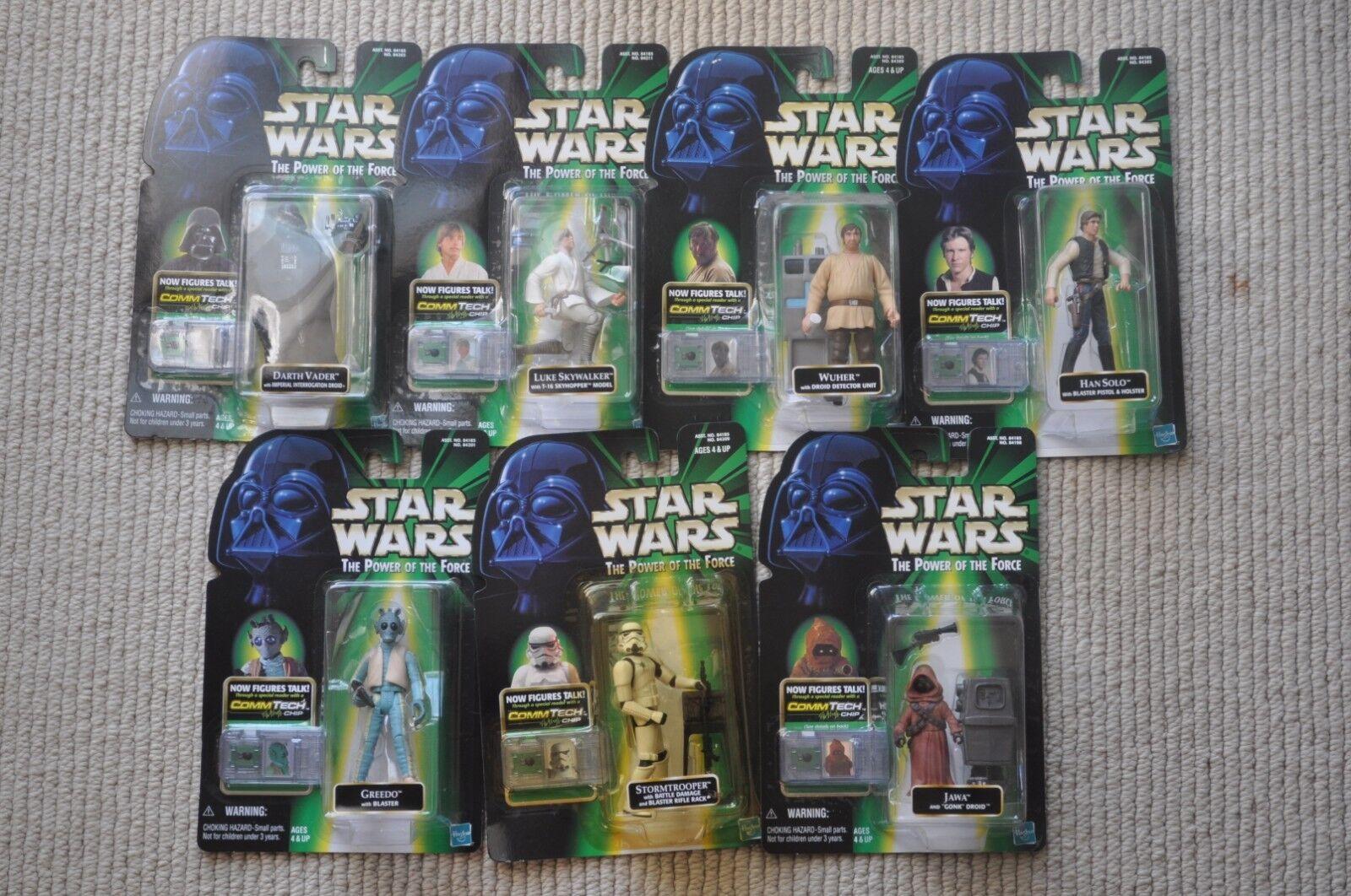 7 Star Wars POTF Commtech Wuher,Darth Vader,Greedo,Han,Stormtrooper,Jawa,Luke