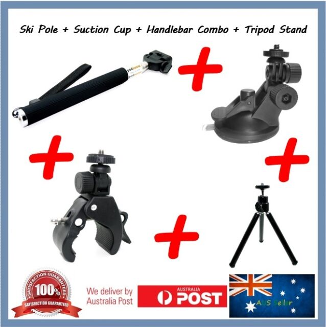 Sony HDR-AZ1 Selfie Stick + Suction Cup + Handlebar Mount + Tripod Stand