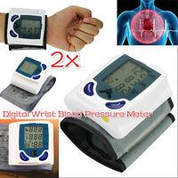 2x Digital LED Wrist Blood Pressure Monitor Heart Beat Rate Pulse Meter Measure^