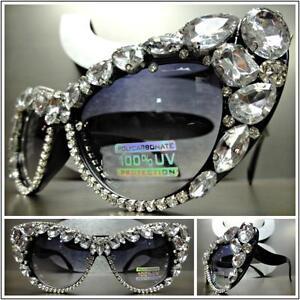 OVERSIZED VINTAGE RETRO CAT EYE Style SUN GLASSES Black Frame Crystals Stones