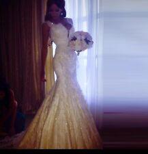 UK White/Ivory Plunging V Neck Lace Mermaid Wedding Dress Bridal  Gown Size 6-22