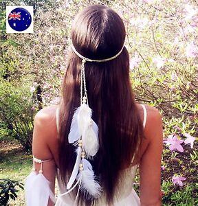 Women-BOHO-Syn-suede-White-Feather-Braided-Beach-Hair-head-band-Headband-Prop