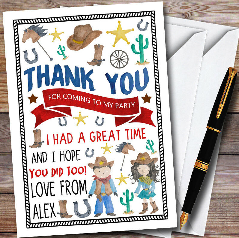 Aquarelle  Cowboy & Cowgirl  Aquarelle s Fête D'anniversaire THANK YOU Cartes 694ef6