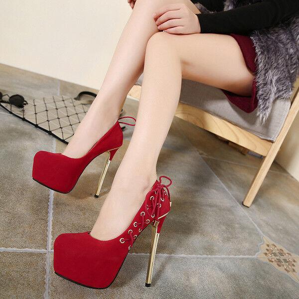 Sandali stiletto decolte 14 cm rosso oro plateau simil pelle eleganti 1206
