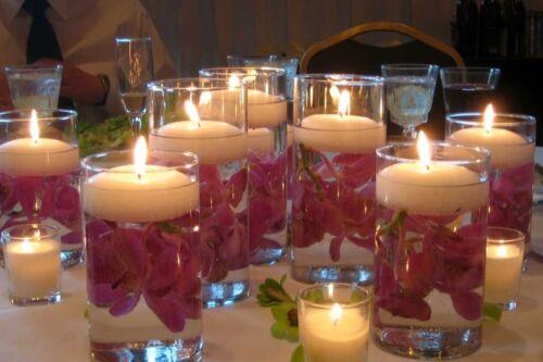 4 White Premium Quality 7cmØ Unscented Floating Candle Wedding Decor Burn 7hr+