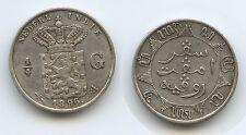 G6139 - Netherlands East Indies 1/4 Gulden 1896 KM#305 Silver Scarce Netherlands