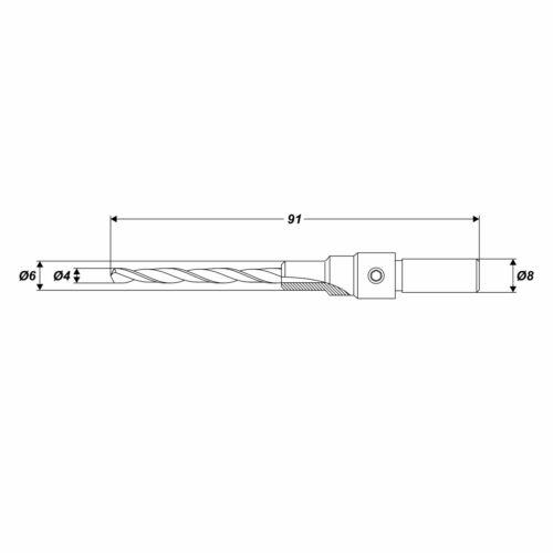 Forets ø 4 mm senkbohrer perceuse avec senker 90 ° pour senkkopf vis ø 6 MM