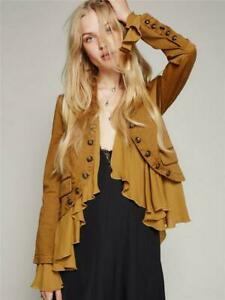 Fashion-Short-Ruffled-Hem-Romantic-Suit-Jacket-Coat-Black-Ivory-Chic-Bty15