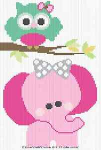 Details about Crochet Patterns - OWL and ELEPHANT Graph/Chart BABY Afghan  Pattern