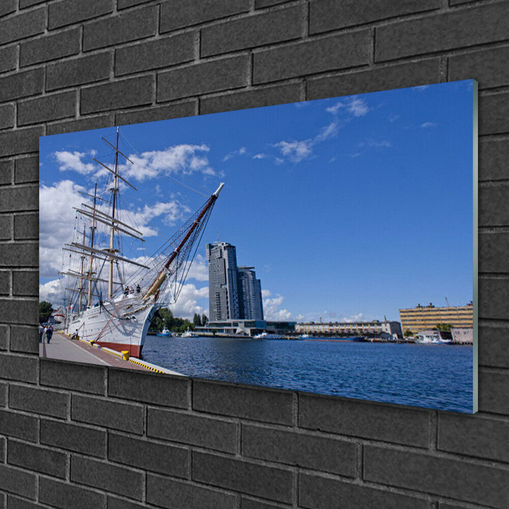 Acrylique Print Wall Art Image 100x50 Photo bateau mer ville paysage