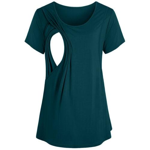 Women Summer Maternity Nursing Breastfeeding Solid Short Sleeve Shirt Top Blouse