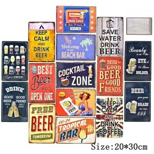 Vintage-Metal-Tin-Signs-Beer-Plate-Man-Cave-Retro-Decor-Art-Wall-Poster